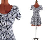 Vintage 1990's Soft Rayon Blue + White Ditsy Flower Floral Print Mini A-line Skirt Grunge Dress S