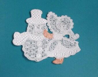 Lace Applique for Crafts or Crazy Quilt - Sunbonnet Sue Builds a Snowman