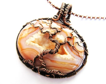 "Tree of Life Pendant - Pastel Orange Agate Druzy Cabochon with Oxidized Copper Wire - 2.25"" x 2.25"" (55mm x 55mm) - Chain Included"