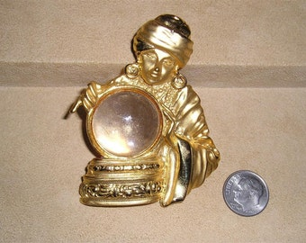 Vintage Signed JJ Fortune Teller Brooch With Clear Lucite Crystal Ball 1980's Signed Jewelry A37