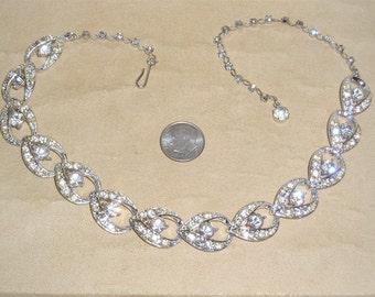 Vintage Signed Sarah Coventry Clear Rhinestone Choker Necklace Rhodium Plated 1960's Jewelry H10