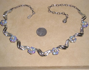 Vintage Signed Coro Necklace With Faux Pearls And Iridescent Rhinestones Late 1950's Jewelry 7055
