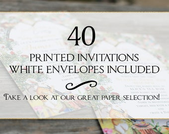 Set of 40 printed invitations/cards- White envelopes included
