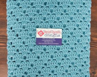 Aqua Blue Crochet Baby Afghan Gender Neutral Blanket