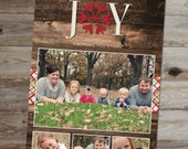 Family Holiday Card - Joy, Wood Background