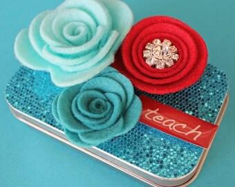 Teacher's Gift Card Holder, Trinket Box, Keepsake Tin, Turquoise and Red