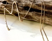 Long Initial Necklace, Monogram Necklace, Sideways Initial Necklace, Gold Initial Necklace, Hammered Initial Necklace