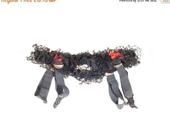 "Vintage 1970s Red And Black Lace Band Suspender, Garter Belt. Waist Circumference: 21 - 27"""