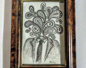 Paisley Head- Original ink drawing in vintage walnut frame- weird art