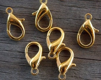 40 Gold Plated Lobster Clasps 14mm
