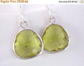 SALE Green Earrings, Green Apple Earrings, Peridot Silver Earrings, Apple Green, Bridesmaid Earrings, Bridal Earrings Jewelry, Bridesmaid Gi