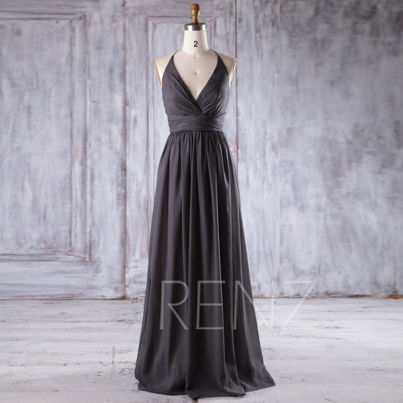 2017 Charcoal Gray Chiffon Bridesmaid Dress Deep V Neck