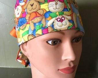 Ponytail scrub cap