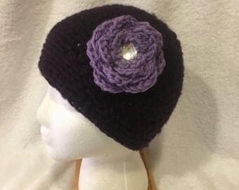 Crochet Messy Bun Hat in Purples