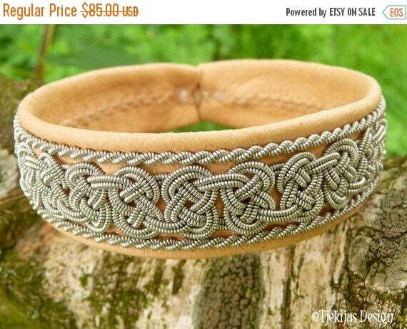 Swedish Viking Lapland Bracelet BEOWULF Sami Bracelet in Natural Reindeer Leather with Spun Pewter Braids - A Handmade Piece Of The North