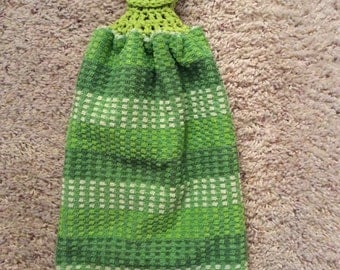 Hanging Kitchen Towel - Crochet Top Towel - Greens - Green Striped - Double and Reversible
