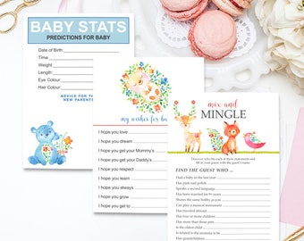 Baby Shower Game & Keepsake Cards, Baby Statistics, Wishes for Baby, Mix and Mingle - Have You Heard the Word? Woodlands (Style 13742)