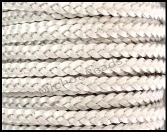 2 Yards 5mm Flat BRAIDED Leather Cord - PEARL Metallic 6 Feet Braided Flat Indian genuine Lead Free Leather Cord - USA Boho Leather Cord