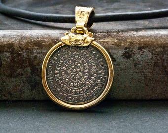 Phaistos Disc Greek Necklace, Unisex Gold and Sterling Pendant, Ancient Minoan Cretan Necklace, Greek Mystery, Men Necklace, Greek Jewelry