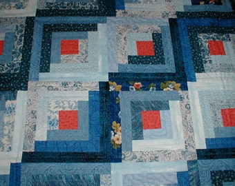 Log Cabin Quilt Shades of Blue Double Bed Size Hand Quilted
