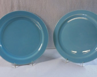 Vernon Kilns Plates Turquoise Early California Two 10-1/2-Inch Dinner Plates