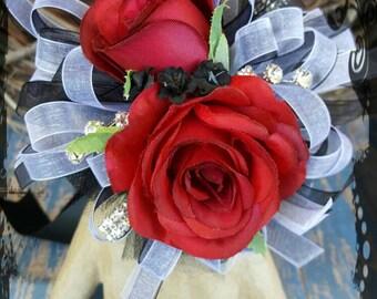 Wrist corsage red white black silk roses Wedding Bridal flowers prom keepsake flowers mom mother grandmother