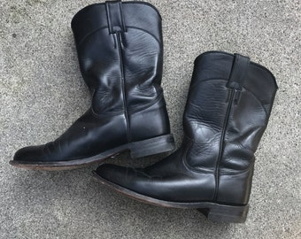 Vintage womens Justin black shiny roper boots size US7