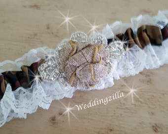 Rustic Bridal Garter, Burlap Wedding Garter, Camouflage Garter, White Lace Wedding Garter,  Camo and Burlap Garter, Wedding Gatter Belt