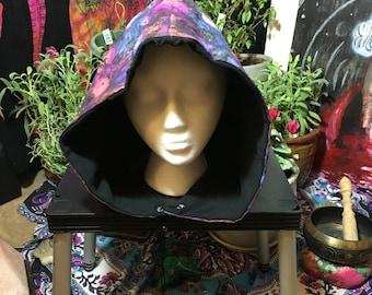 boho/gypsy/festival/burning man hood/hat/skull magenta and purple cosmic explosion sack with black fleece for warmth