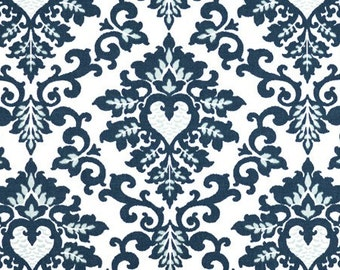 1 Yard Premier Navy Cecilia Fabric - Premier Prints-  Navy Blue and White Floral - Fabric by the Yard