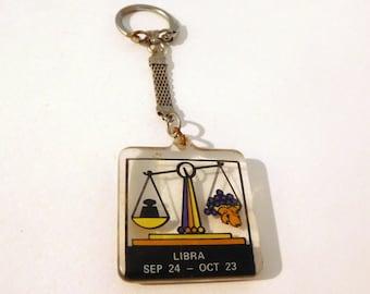 LIBRA ASTROLOGICAL ZODIAC Sign Keychain Key Ring / Acrylic