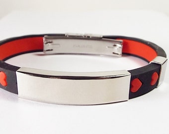 Personalized Jewelry Custom Engraved Black Silicone With Red Hearts Rubber and Stainless Steel ID Bracelet 8 Inch Length  - Hand Engraved