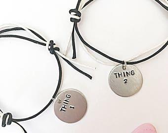 Friendship Bracelets - Adjustable Bracelets - Thing 1, Thing 2 - Hand Stamped Bracelets - Cord Bracelets - Friend Bracelets - Friendship Jew