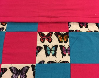 READY TO SHIP- Butterfly Quilt, Baby Quilt, Throw, Crib Size, Warm, Pink, Blue, Lap Quilt