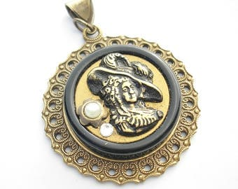 Antique Victorian Picture Button Pendant 1890's Metal Button Very Old!