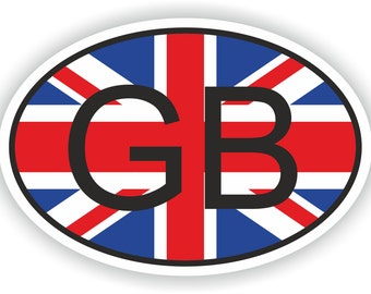 GB Country Code Oval Sticker with Union Jack Flag for Bumper Laptop Book Fridge Motorcycle Helmet ToolBox PC Hard Hat Tool Box Locker Truck