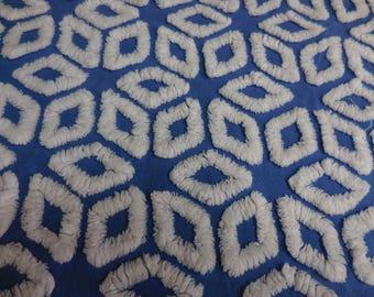 "Hofmann Midnight BLUE and WHITE Diamonds or Stars Vintage Chenille Bedspread Fabric - 21"" X 24"""