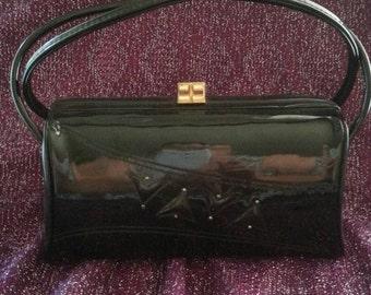 Now On Sale Vintage Black Patent Leather Purse 1960's Mad Men Mod Clutch Box Handbag Rockabilly Mid Century Accessories