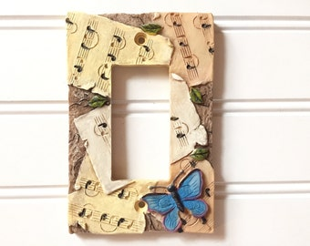Music Lightswitch Cover - Vintage Lightswitch Plate Cover - Electrical Outlet Cover - Butterfly Decor - Decorative Outlet Cover