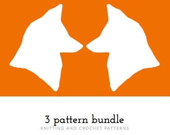 3 Pattern Bundle, Pattern Pack, Knitting, Crochet Pattern, Pattern Bundle, PDF Patterns, Crocheting, Knitting for Beginners, Winter Knits