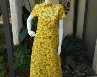 Vintage 1960's Yellow Floral Print Dress - Size 12