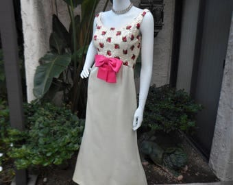 Vintage 1960's Ivory Colored Evening Gown with Pink Bow and Pink & Red Embroidered Rose Buds - Size 8