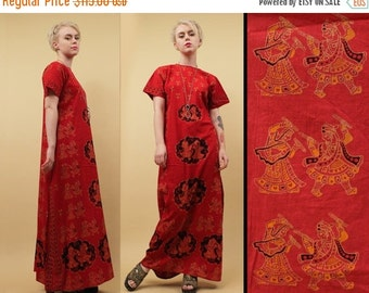 20% OFF 1DAY SALE 60s 70s Vtg rare Indian Cotton Gauze Block Print Kaftan Maxi Dress / Warrior Motif Red Hippie Boho / Small