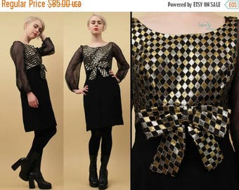 CLEARANCE SALE 60s Vtg Black & Metallic Lamé Checker Op Art Mod Dolly Bow Mini Dress / Sheer Balloon Sleeve GoGo Cocktail / Xs Sm