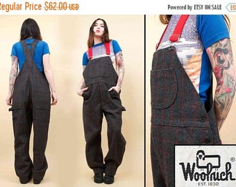 25% OFF 1DAY SALE 90s Vtg Woolrich Genuine Wool Plaid Bib Suspender Overalls / Unisex Workwear Utilitarian Tomboy / Mens Medium - Womens Lar
