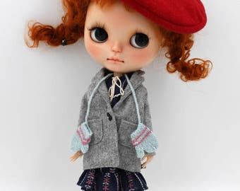 Girlish - Grey Jacket Dress Set for Blythe doll - dress / outfit