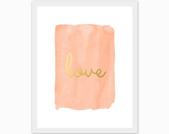 peach and gold baby girl's nursery art, children's room, watercolor, love, make it a set of 3, mix and match, custom colors, hearts