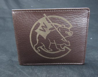 """CUBS FLY THE """"W"""" Premium Leather Wallet"""