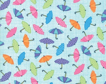 RAINY DAY! multicolor umbrellas on aqua cotton print by the 1/2 yard Me and My Sister Moda fabric 22291-13