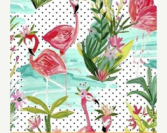 15% off thru May1st FLAMINGOS by the pond cotton print by the yard Windham Fabric 42276-1 bird tropical white dots